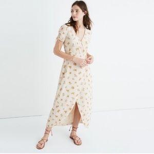 Madewell Silk Floral Wrap Midi Dress Plus Size